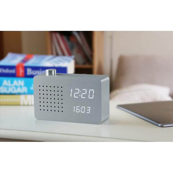 GK16W6 RADIO CLICK Gingko laikrodis Aluminium, White LED