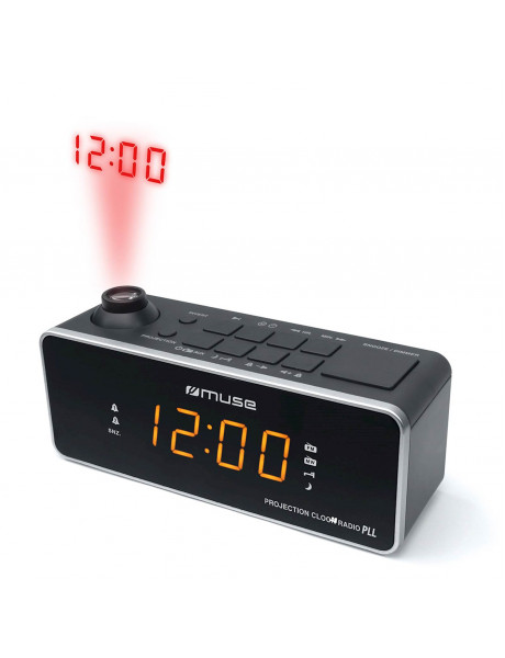RADIJO ŽADINTUVAS Muse Clock radio M-188P Black, 0.9 inch amber LED, with dimmer