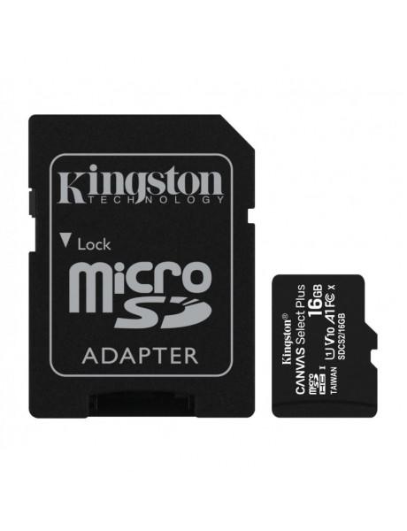 ATMINTIES KORTELĖ KINGSTON 16GB MICSDHC CANVAS SELECT PLUS 100R A1 C10 CARD +
