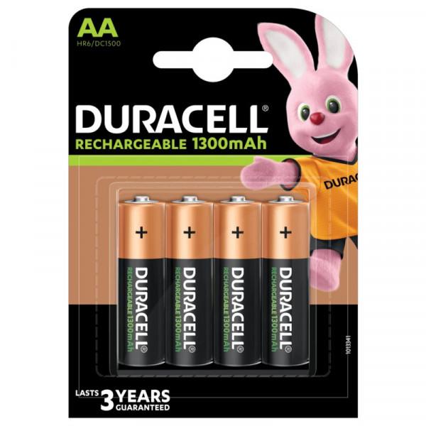 Įkraunamos baterijos DURACELL AA (1300 mAh), LR06, 4vnt