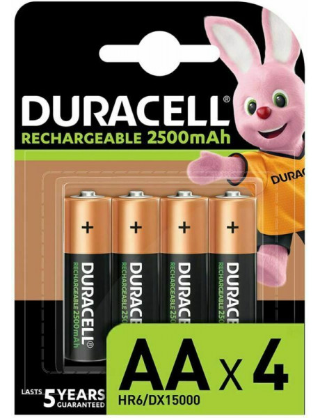 Įkraunamos baterijos DURACELL AA (2500 mAh), LR06, 4vnt