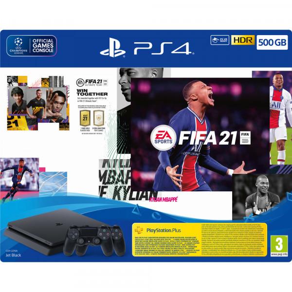 Žaidimų konsolė Sony PlayStation 4 (PS4) SLIM 500GB + FIFA 21 + papildomas pultelis