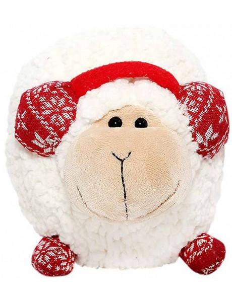 Pliušinis žaislas 54-9580-8 Avinas su žieminėmis raudonomis ausinėmis, 20cm