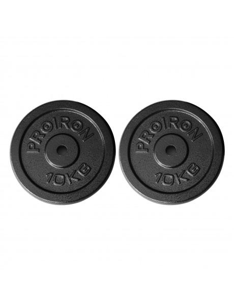 Diskiniai svoriai PROIRON PRKISP10K Weight Plates Set, 2 x 10 kg, Black, Solid Cast Iron