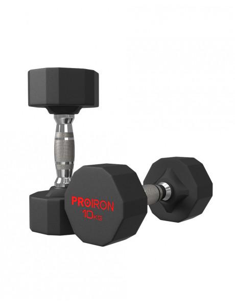 Hanteliai PROIRON PRKRD10K Rubber Dumbbell, 20.00 kg, 2 pcs, 10 kg, Black
