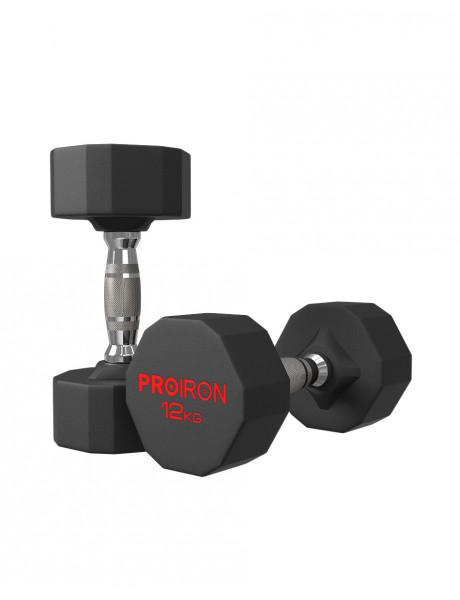 Hantelis PROIRON PRKRD12K Rubber Dumbbell, 12.00 kg, 1 pcs, 12 kg, Black