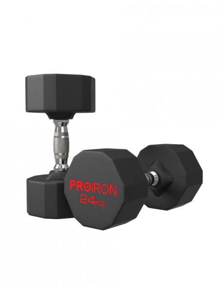 Hantelis PROIRON PRKRD24K Rubber Dumbbell, 24.00 kg, 1 pcs, 24 kg, Black