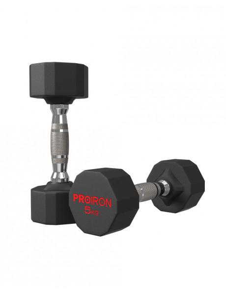 Hanteliai PROIRON PRKRD05K Rubber Dumbbell, 10.00 kg, 2 pcs, 5 kg, Black
