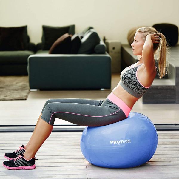 Kamuolys PROIRON Exercise Yoga Ball Balance Ball, Diameter: 75 cm, Thickness: 2 mm, Blue, PVC