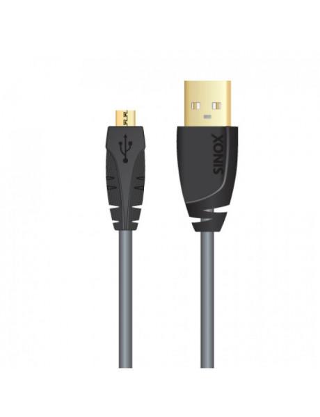 KABELIS SINOX USB-A M - USB MICRO-B M, BLACK 1.8M