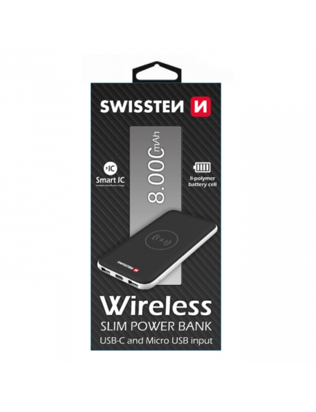 SWISSTEN SLIM RECOVERY POWER BANK 2A / USB / TYPE-C / QI CHARGER FOR WIRELESS DEVICES / 8000 MAH BLA
