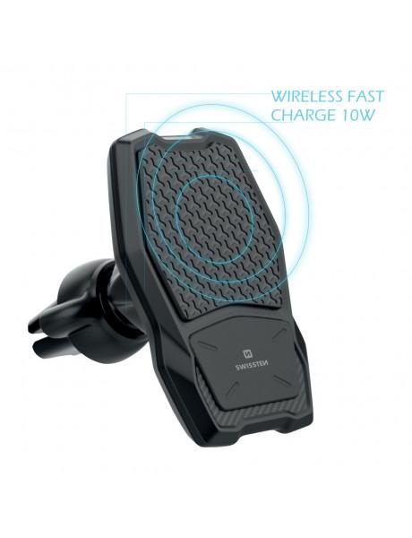 Laikiklis Swissten WM1-AV3 Air Vent Car Holder With Wireless Charging + Micro USB Cable 1.2m Black W