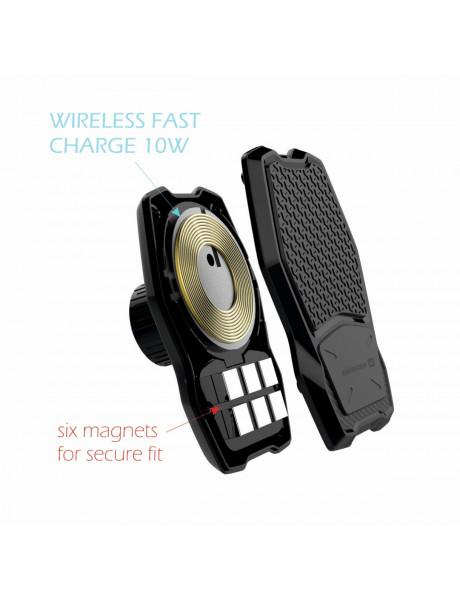 Laikiklis Swissten WM1-HK2 Car Holder With Wireless Charging + Micro USB Cable 1.2m Black WM1-HK2