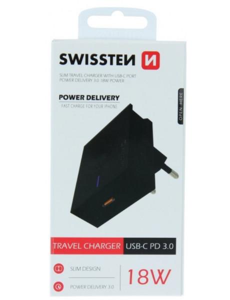 Laikiklis Swissten Premium 18WTravel Charger USB-C PD3.0: 5V / 3A / 9V / 2A, 12V /1.5A Black