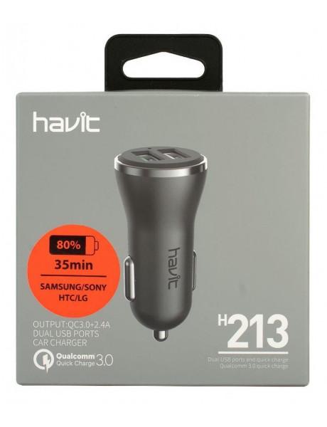 AUT. ĮKROVIKLIS HAVIT 213 3.0, 2*USB/5.4A/30W