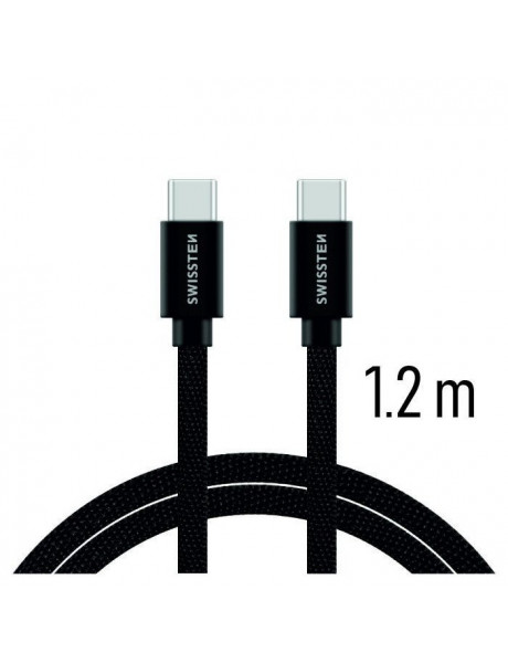 SWISSTEN TEXTILE UNIVERSAL QUICK CHARGE 3.1 USB-C TO USB-C DATA AND CHARGING CABLE 1.2M BLACK
