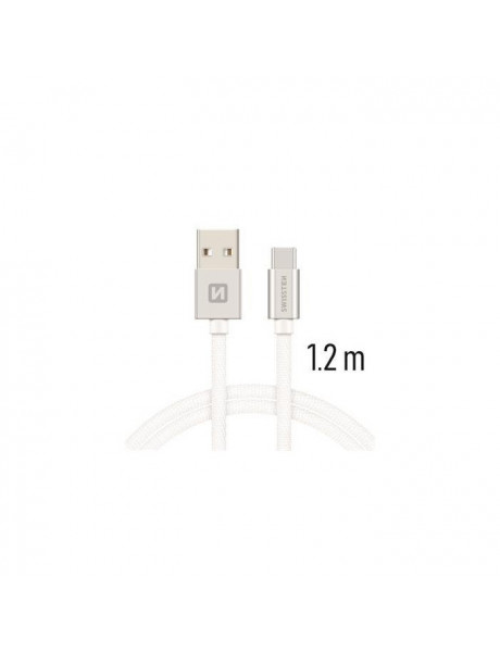 SWISSTEN TEXTILE UNIVERSAL QUICK CHARGE 3.1 USB-C DATA AND CHARGING CABLE 1.2M SILVER