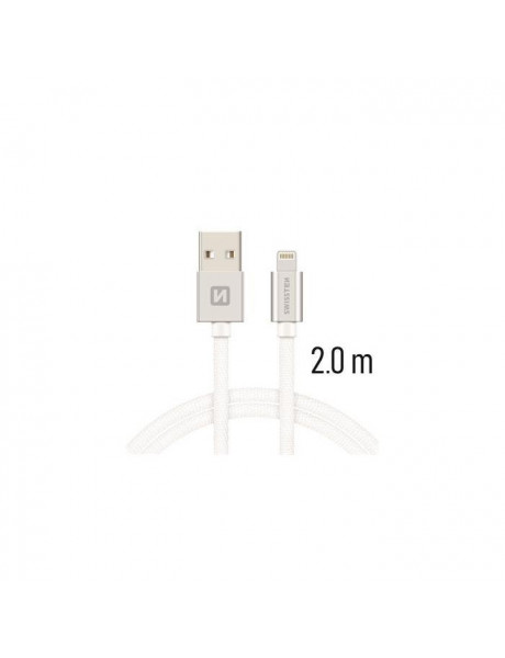 SWISSTEN TEXTILE FAST CHARGE 3A LIGHTNING (MD818ZM/A) DATA AND CHARGING CABLE 2M SILVER