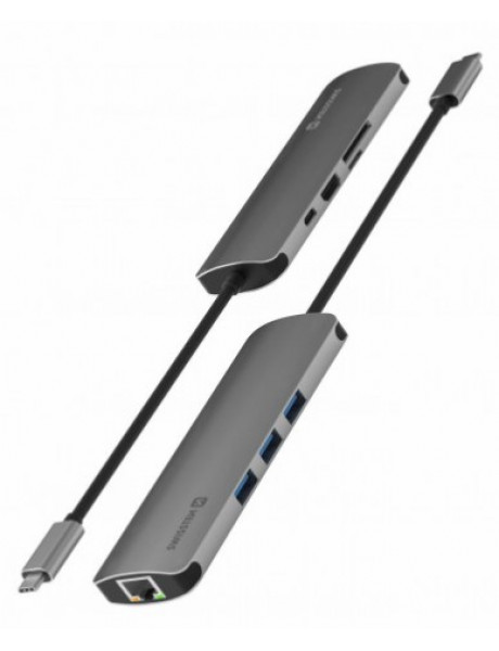 Šakotuvas Swissten USB-C Hub 8in1with 3X USB 3.0 / 1X USB-CPower Delivery / 1X microSD/ 1X SD /