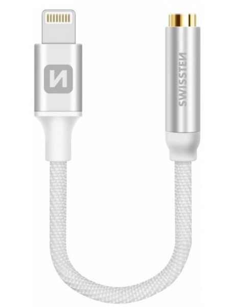 Swissten Lightning to Jack 3.5mm Audio Adapter for iPhone and iPad 15 cm Silver