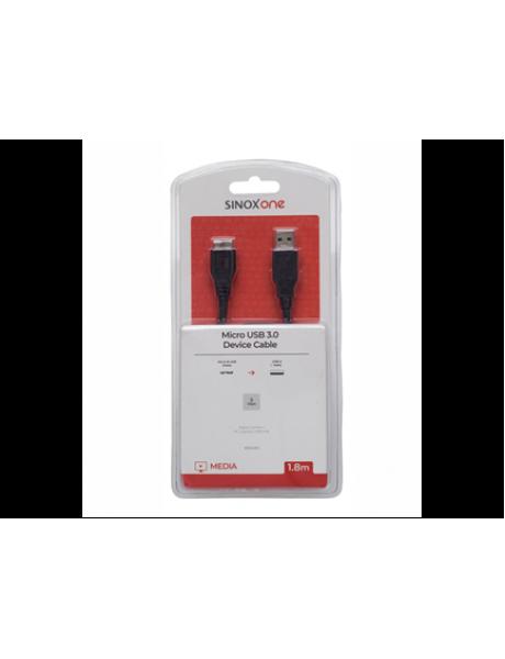 LAIDAS SINOX SOC4314 USB-A 3.0M - USB MICRO-B 3.0 M, BLACK 1