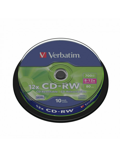 Cd diskai VERBATIM CD-RW DLP 700MB 12X