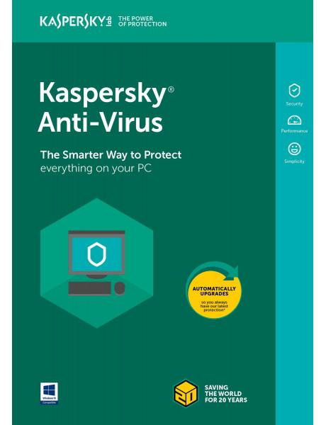 Kaspersky Anti-Virus. 2 PC, 1 Metai, Nauja licencija