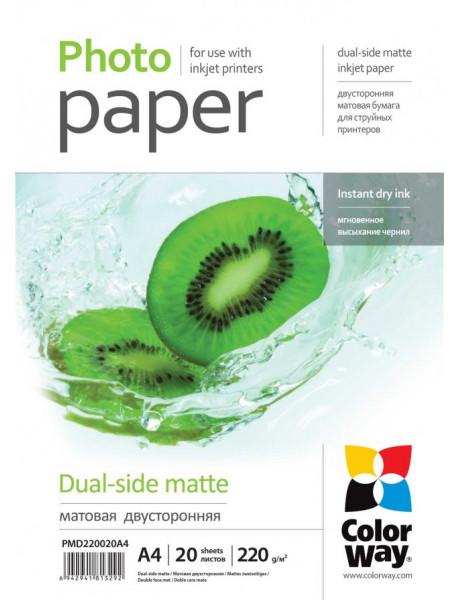 Fotopopierius ColorWay Matte Dual-Side Photo Paper, 20 sheets, A4, 220 g/m²