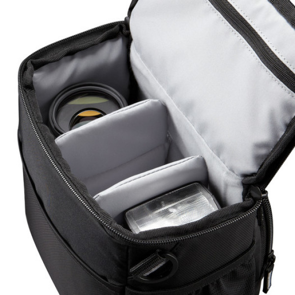 Case Logic DSLR Camera Holster Interior dimensions (W x D x H) 165 x 114 x 185 mm, Black, • Holds SLR camera body with attached lens and up to two additional lenses and accessories • Unique hammock system suspends DSLR above the bottom of case, providing