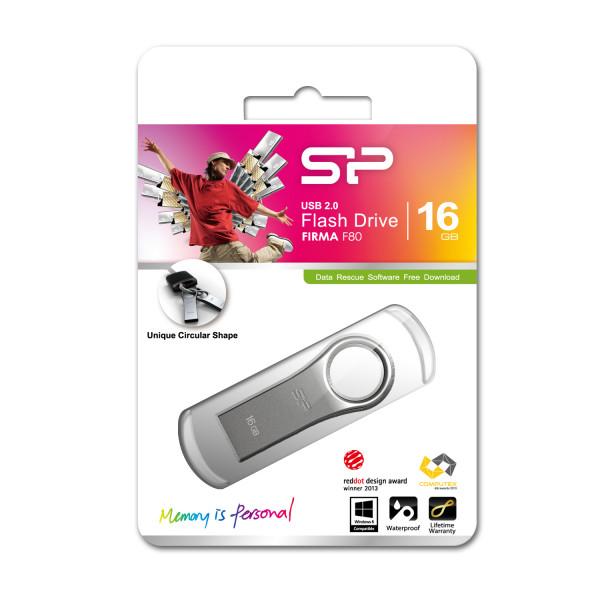 Silicon Power Firma F80 16 GB, USB 2.0, Silver