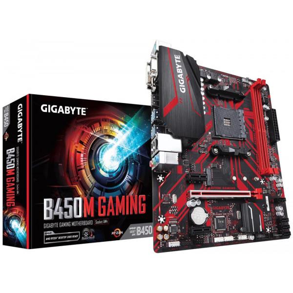 Gigabyte B450M GAMING 1.0 M/B Processor family AMD, Processor socket AM4, DDR4 DIMM, Memory slots 2, Number of SATA connectors 4, Chipset AMD B, Micro ATX
