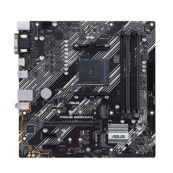 Mainboard|ASUS|AMD B550|SAM4|MicroATX|2xPCI-Express 3.0 1x|2xM.2|1xPCI-Express 4.0 16x|Memory DDR4|Memory slots 4|1x15pin D-sub|1xDVI|1xHDMI|6xUSB 3.2|1xPS/2|1xRJ45|3xAudio port|PRIMEB550M-K