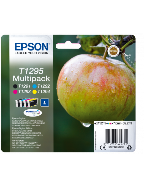 Epson Multipack 4-colours T1295 DURABrite Ultra Ink Cartridge, Black, Cyan, Magenta, Yellow