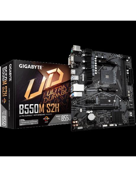 Mainboard GIGABYTE AMD B550 SAM4 MicroATX 2xPCI-Express 3.0 1x 1xPCI-Express 3.0 16x 1xM.2 Memory DDR4 Memory slots 2 1x15pin D-sub 1xDVI 1xHDMI 2xAudio-In 1xAudio-Out 2xUSB 2.0 4xUSB 3.2 1xPS/2 1xRJ45 B550MS2H