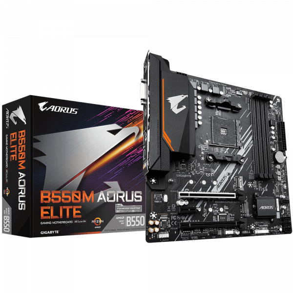 Gigabyte B550M AORUS ELITE 1.0 Processor family AMD, Processor socket AM4, DDR4 DIMM, Memory slots 4, Number of SATA connectors 4 x SATA 6Gb/s connectors, Chipset AMD B, Micro ATX