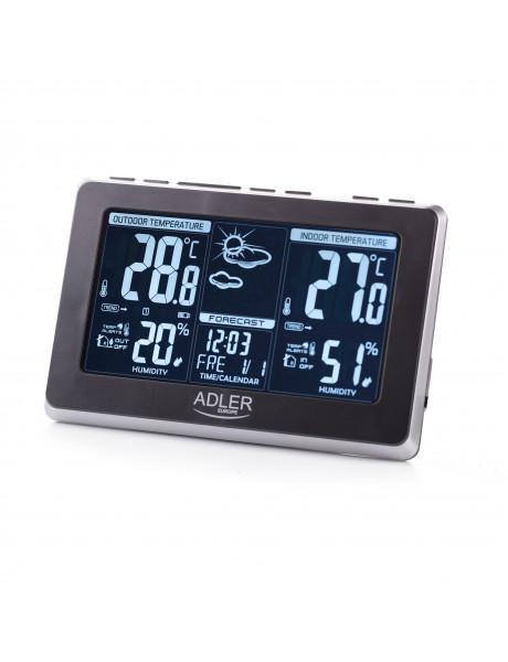 Adler Weather station AD 1175 Black, White Digital Display, Remote Sensor