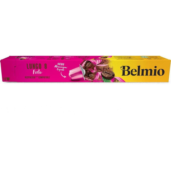 Belmoca Belmio Sleeve Lungo Forte Coffee Capsules for Nespresso coffee machines, 10 capsules, Coffee strength 8/12, 100 % Arabica, 52 g