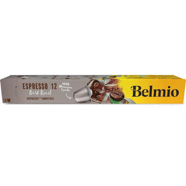 Belmoca Belmio Sleeve Espresso Extra Dark Roast Coffee Capsules for Nespresso coffee machines, 10 capsules, Coffee strength 12/12, 100 % Arabica, 52 g