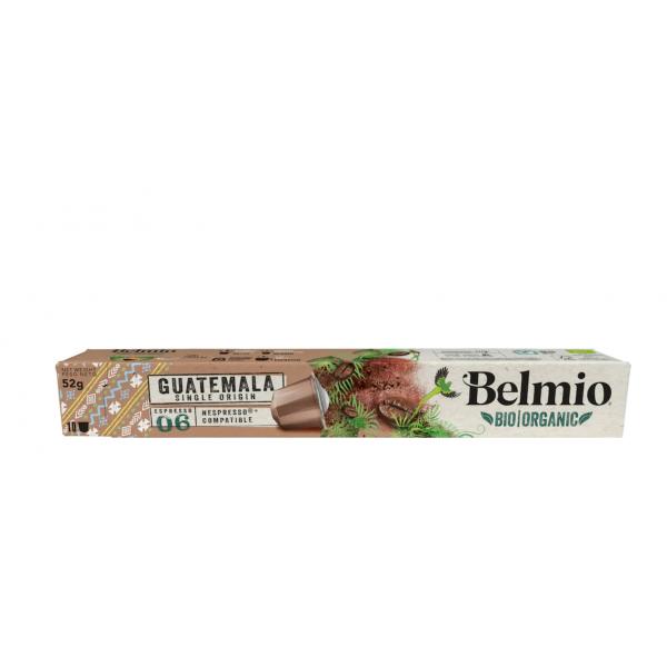 Belmoca Belmio Sleeve BIO/Single Origine Guatemala Coffee Capsules for Nespresso coffee machines, 10 aluminum capsules, Coffee strength 6/12