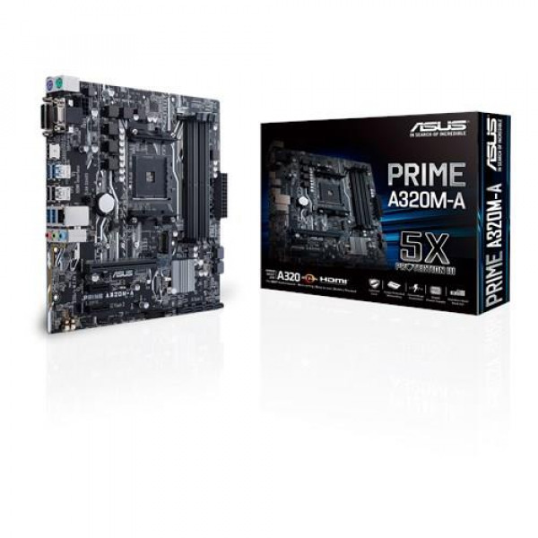 Asus PRIME A320M-A Processor family AMD, Processor socket AM4, DDR4-SDRAM 2133,2400,2666,2933,3200 MHz, Memory slots 4, Supported hard disk drive interfaces M.2, Number of SATA connectors 6, Chipset AMD A, Micro ATX