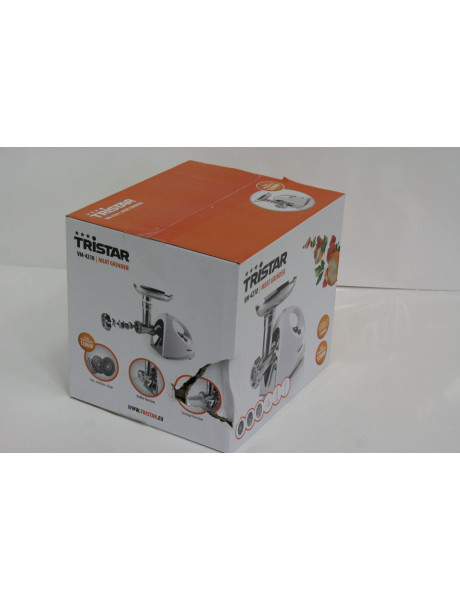 SALE OUT. Tristar Meat mincer VM-4210 White, 3 Stainless steel grinding plates, Aluminum grinder head, Aluminum hopper tray, Sausage stuffer, Kubbe attachment, Sausage accessory, Stainless steel blade, DAMAGED PACKAGING