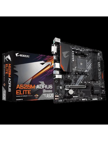 Gigabyte A520 AORUS ELITE 1.0 Processor family AMD, Processor socket AM4, DDR4 DIMM, Memory slots 4, Number of SATA connectors 4 x SATA 6Gb/s connectors, Chipset AMD A, ATX