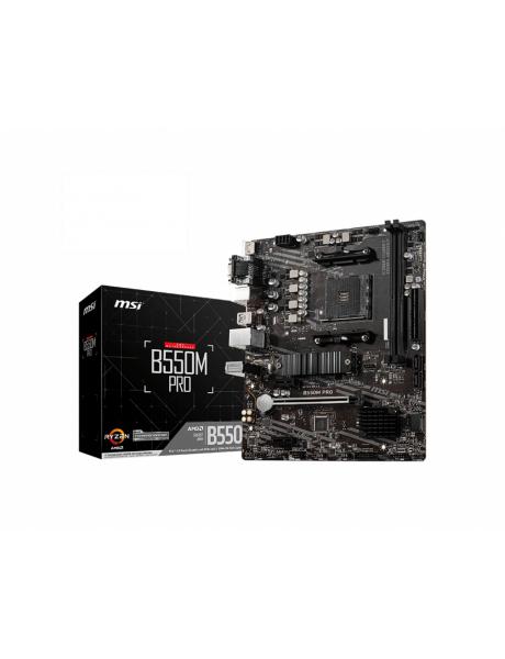 MSI B550M PRO Processor family AMD, Processor socket AM4, DDR4, Memory slots 2, Number of SATA connectors 4, Chipset AMD B, Micro ATX