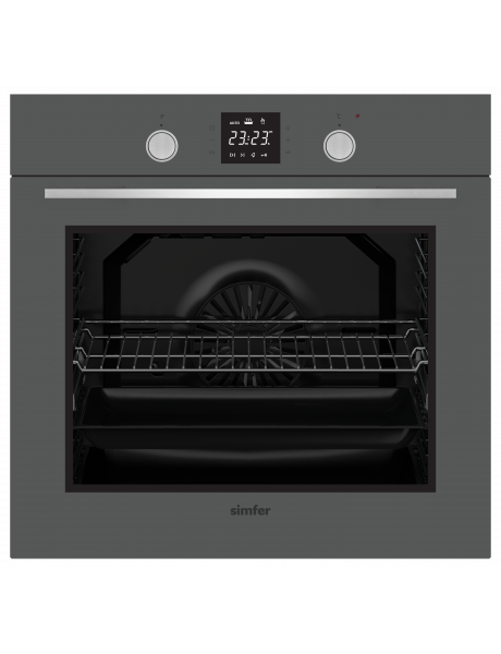 Simfer Oven 8408EERSC 80 L, Multifunctional, Easy to Clean Enameled Cavity, Touch/Pop-up knobs, Width 60 cm, Silver