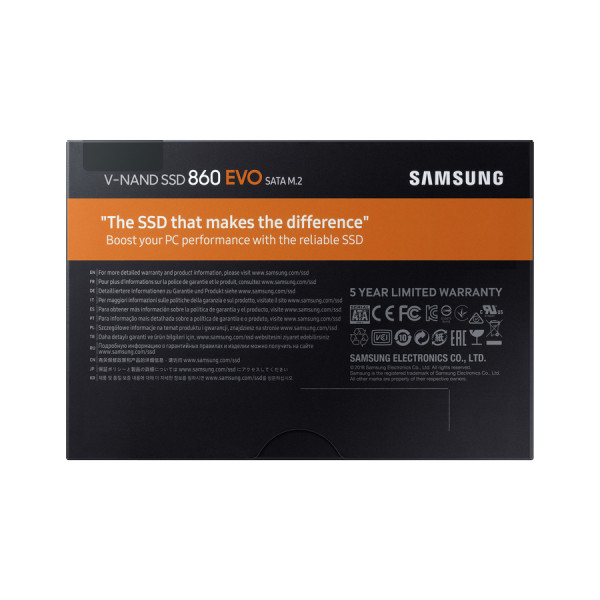 Samsung 860 EVO MZ-N6E500BW 500 GB, SSD form factor 2.5, SSD interface M.2 SATA, Write speed 520 MB/s, Read speed 550 MB/s