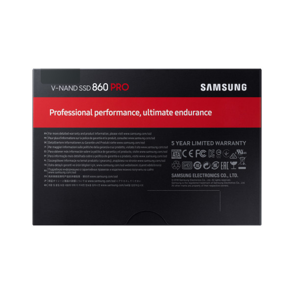 Samsung 860 PRO 1000 GB, SSD form factor 2.5, SSD interface SATA, Write speed 530 MB/s, Read speed 560 MB/s